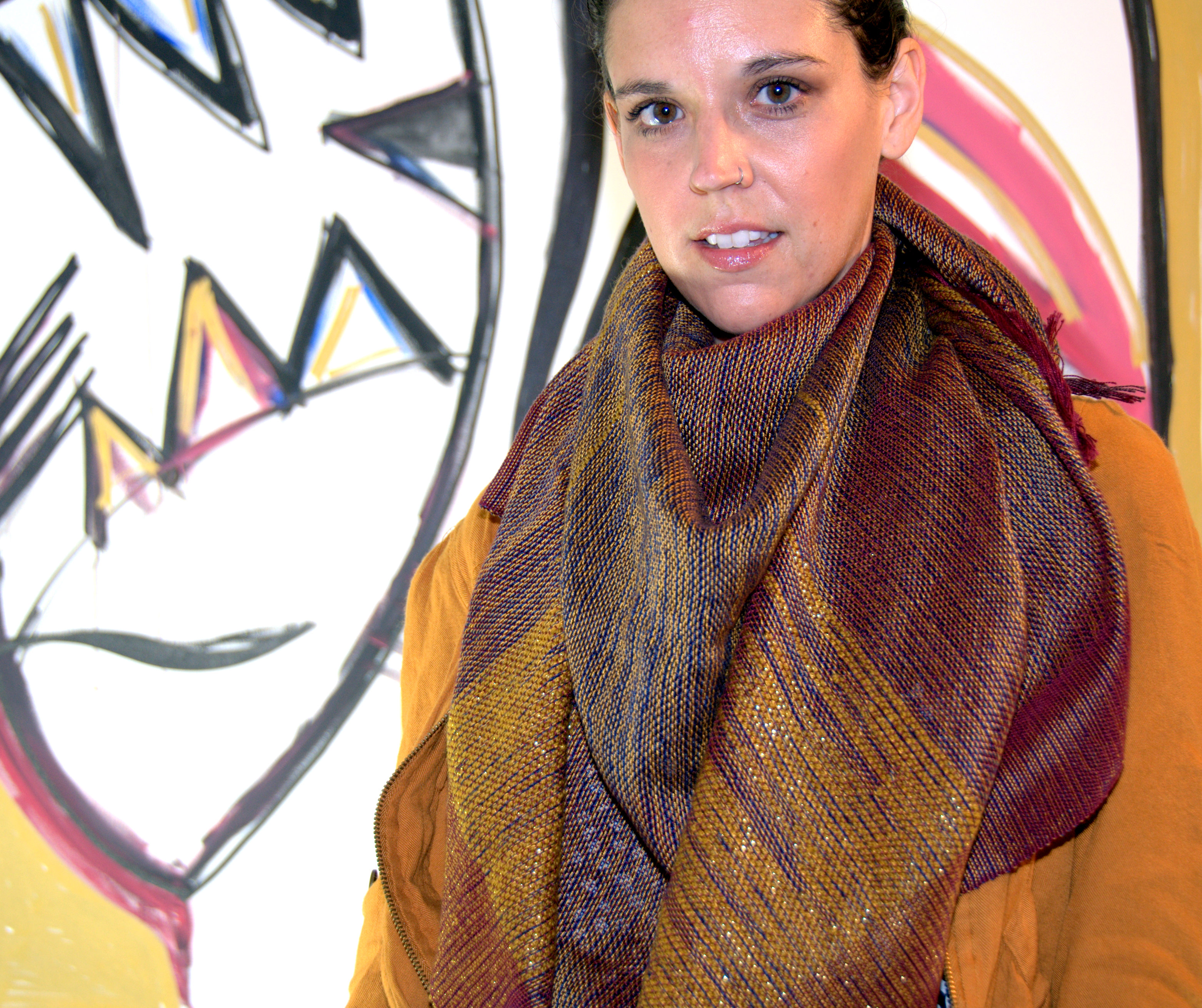 amber kane handwoven cotton scarf