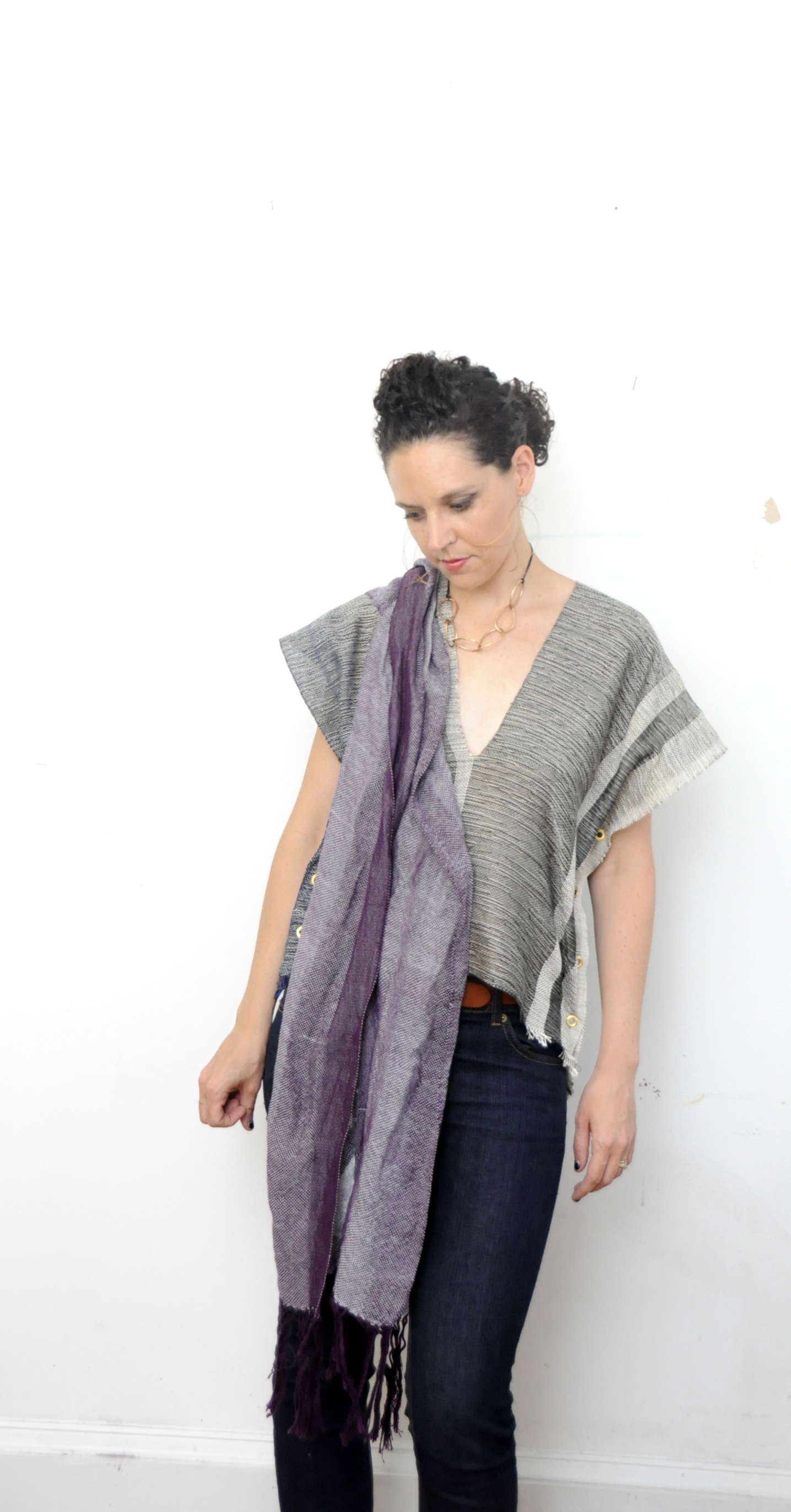 amber kane handwoven scarf and black and white tunic