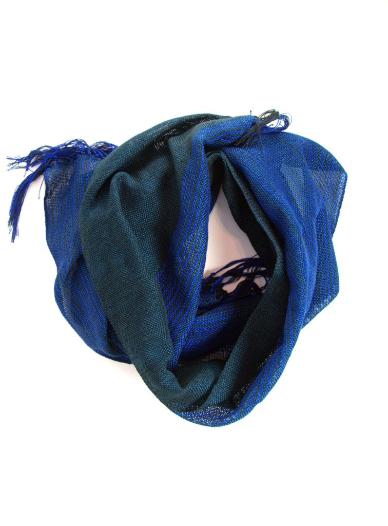 blue green woven cotton scarf for him and her